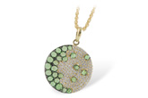 A234-39348: NECK .95 ROSE CUT GREEN GARNET 1.37 TGW